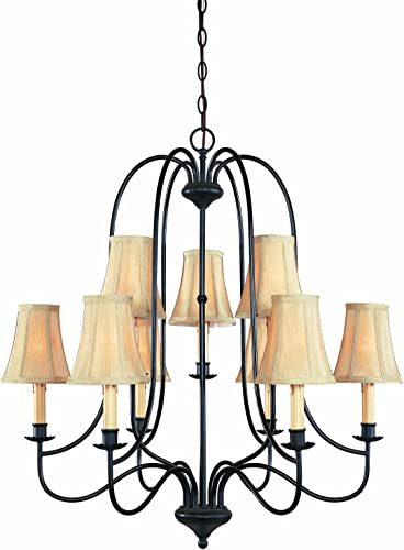 World Imports 3749-34 Brondy Collection Two Tier 9-Light Chandelier, Aged Ebony