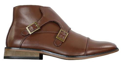Stivaletti alla Caviglia da Uomo in Finta Pelle Nera o Marrone con Doppia  Fibbia  Amazon.it  Scarpe e borse 7ad4434fb4e