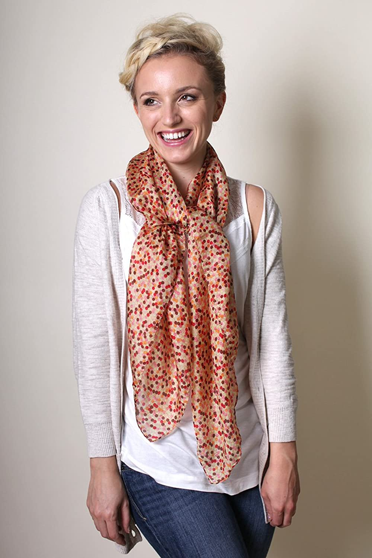 Women's Blooming Mini Polka Dot Square Premium Silk Bandana Scarf