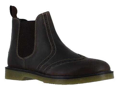 39813b83424 Oaktrak Belper Mens Leather Chelsea Brogue Pull On Slip On Boots