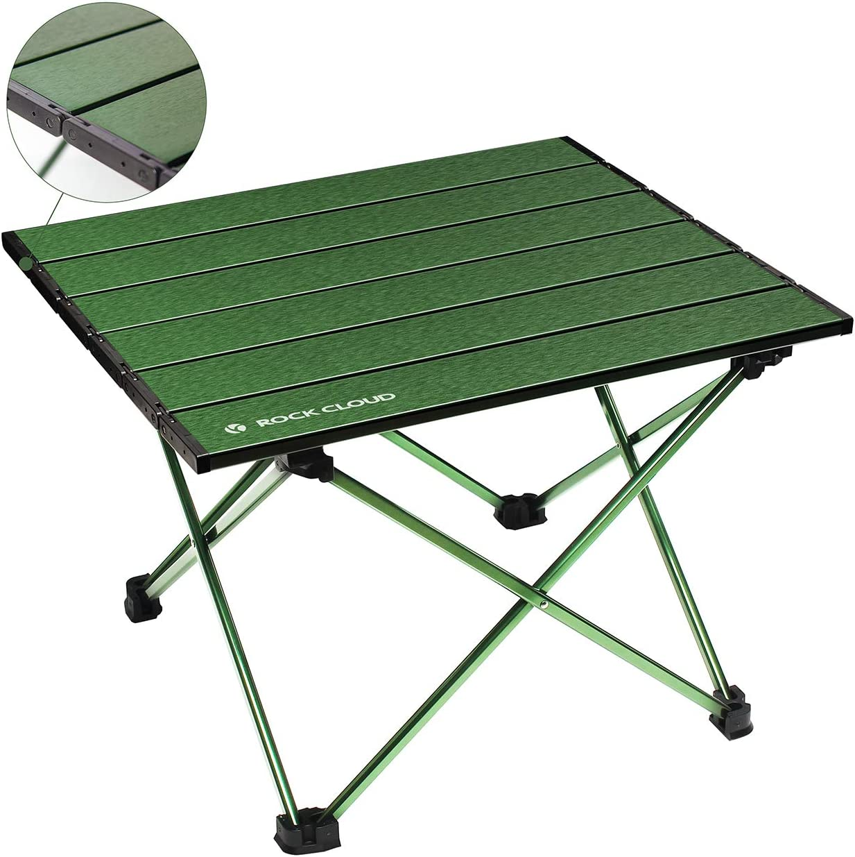 Rock Cloud Portable Camping Table Ultralight Aluminum Camp Table Folding Beach Table for Camping Hiking Backpacking Outdoor Picnic, Green