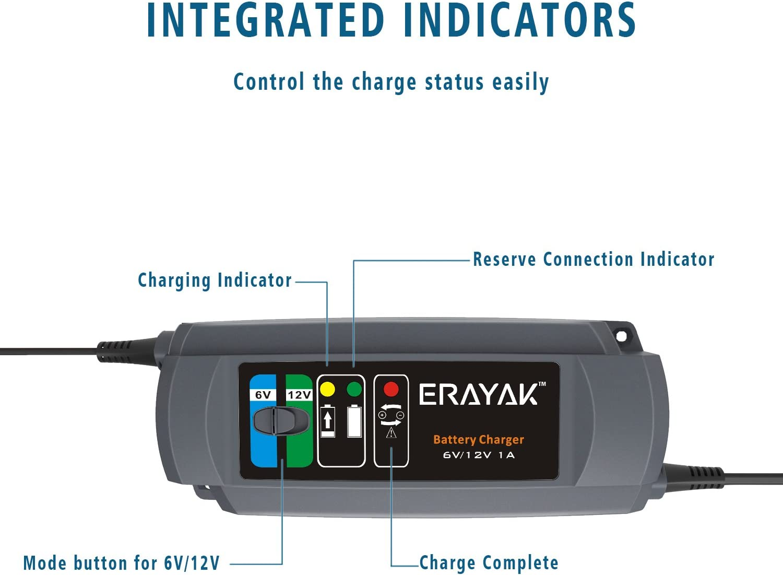Wohnmobil Motorrad Erayak Batterieladeger/ät 12V 5A Autobatterie Ladeger/äte 8-Stufig f/ür 10-120AH Batterie Auto 8-Stufig Rasenm/äher Grau-5A