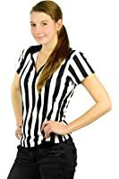 Mato & Hash Women's 1/4 Zip-Up Quarter-Zip Referee Short Sleeve Ref Tee Shirt