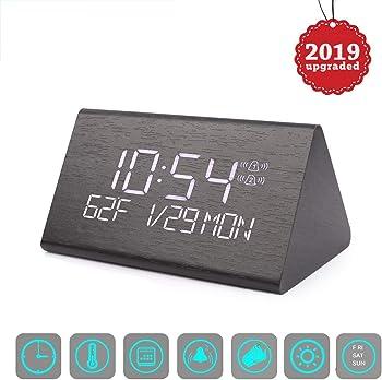 Vandora Adjustable Brightness Voice Control Desk Wooden Alarm Clock