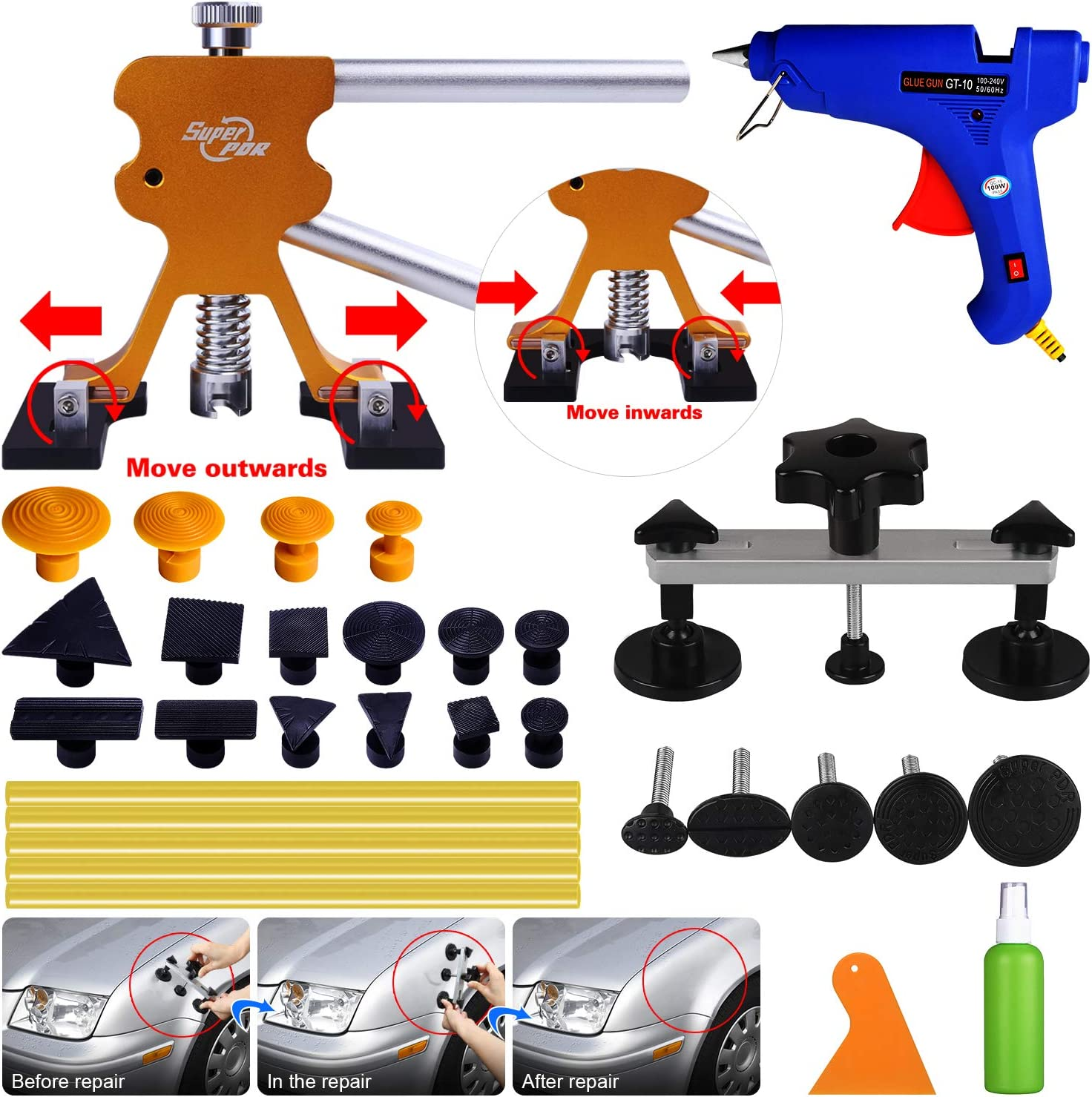AUTOPDR Dent Removal kit, Paintless Dent Repair Kits Pops a Dent Puller Lifter Car Body Dent Removal Tools Remover for Auto Body Motorcycle Refrigerator Washing Machine