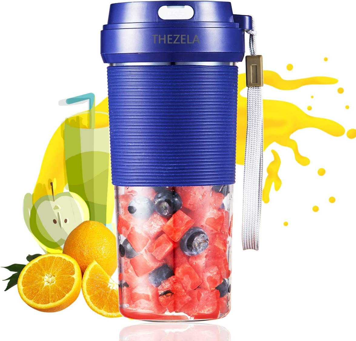 portable blender usb rechargeable,Cordless mini Personal Blender Small shakes Smoothie Fruit Juice Blender cup,for Home Outdoor Travel Office,Waterproof, BPA Free,10oz (blue)