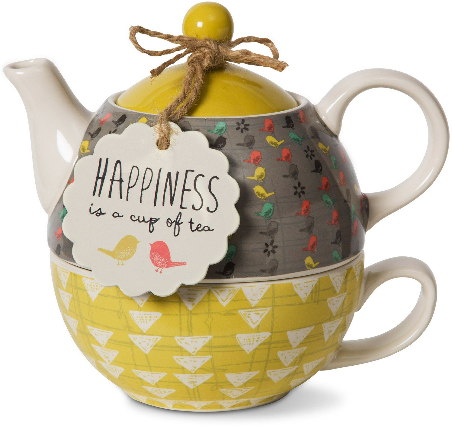 Bloom Pavilion Gift Company 74070 Happiness Ceramic Tea for One, 15 Oz, Multicolor