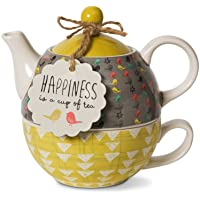 Pavilion Gift Company Bloom Happiness Ceramic Tea for One, 15 oz, Multicolor