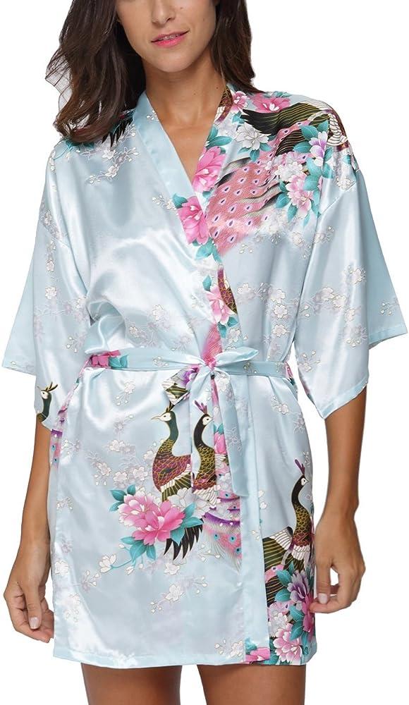 New Silk  long  Robe Women Floral Bathrobe Kimono 2019--t