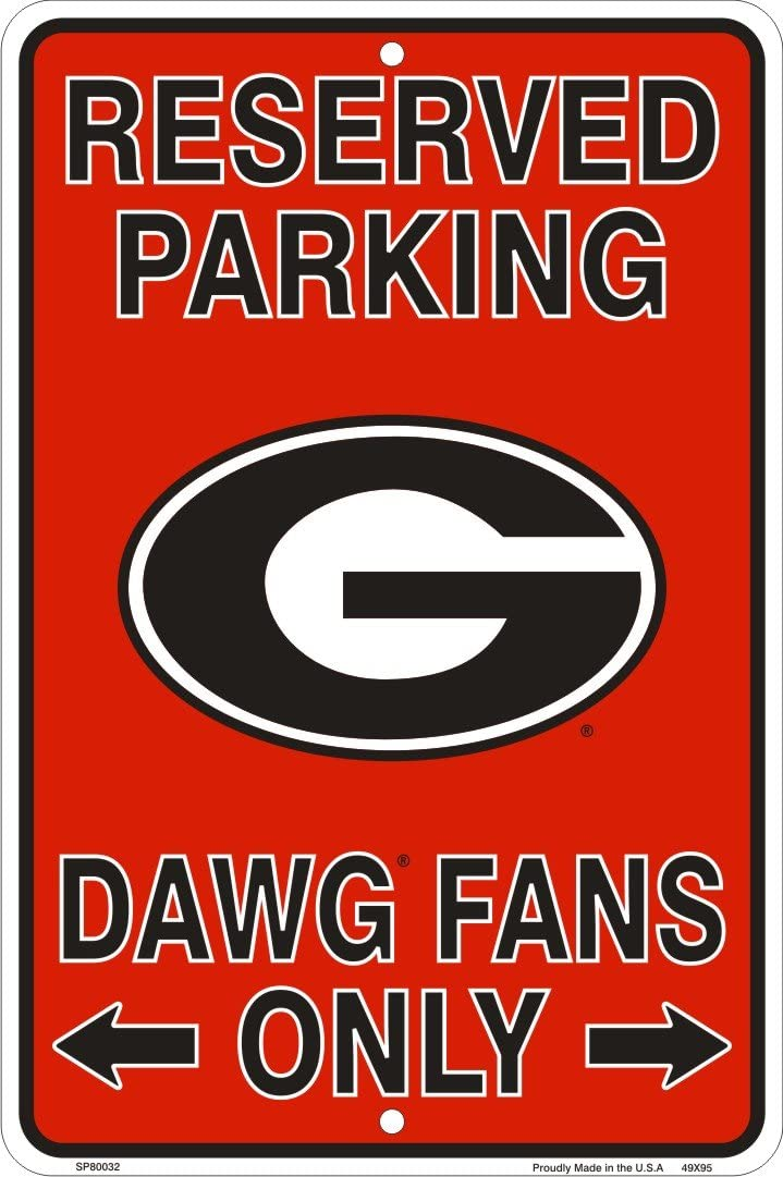 HangTime Georgia Bulldogs Fans Reserved Parking Sign Metal 8 x 12 Embossed