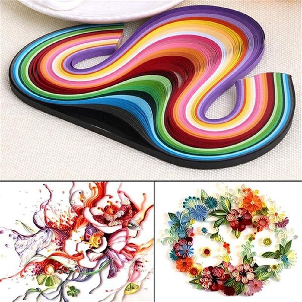 900 Strips JapanAmStore 9 Pack Rainbow Quilling Paper Strips Set 5mm 39cm Flower Gift Paper for Craft DIY Quilling Tools
