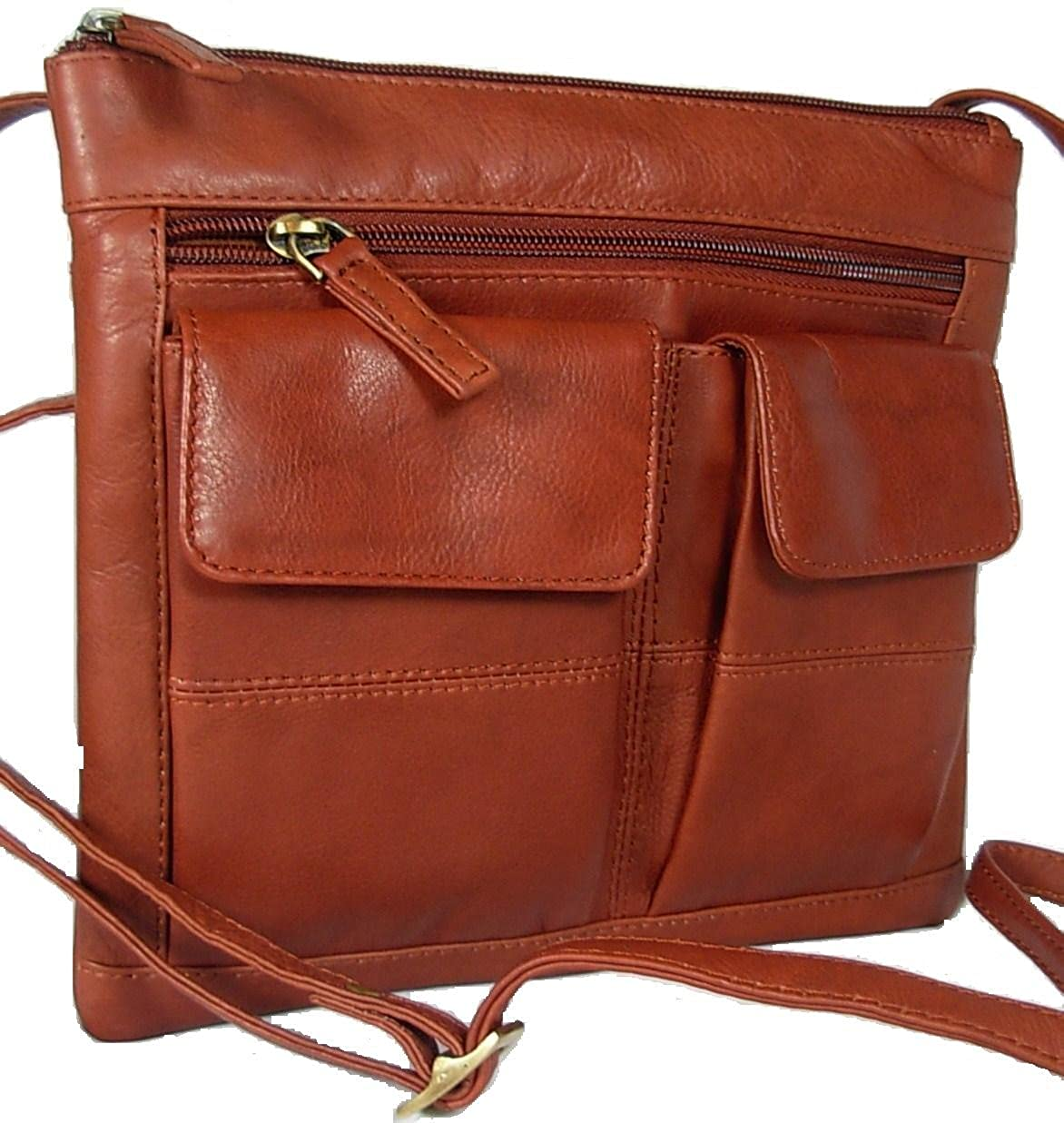 New ladies small brown leather Visconti across body messenger bag satchel 18608/A