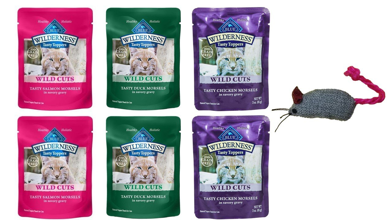 Blue Buffalo Wilderness Wild Cuts Tasty Toppers for Cats 3 Flavor Variety 6 Pouch Bundle with toy, 2 Each: Salmon, Duck, Chicken - 3 Ounces