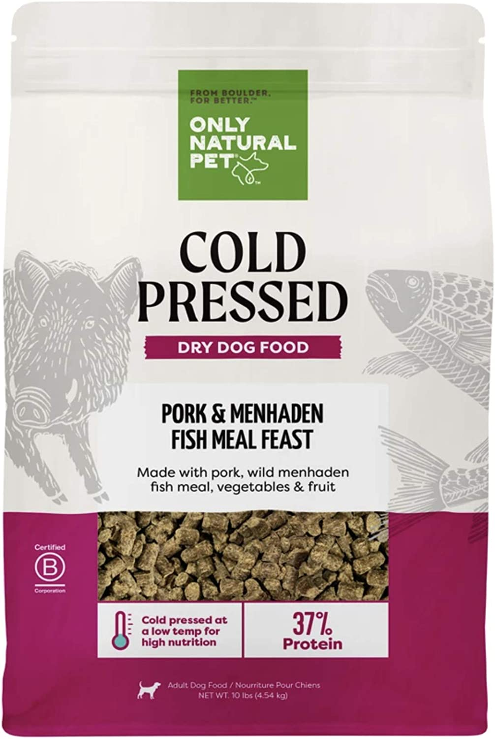 Only Natural Pet Pork & Menhaden Cold Pressed Dog Food - Nutrient Rich and Easy to Digest Dry Dog Food, 10 Lb Bag