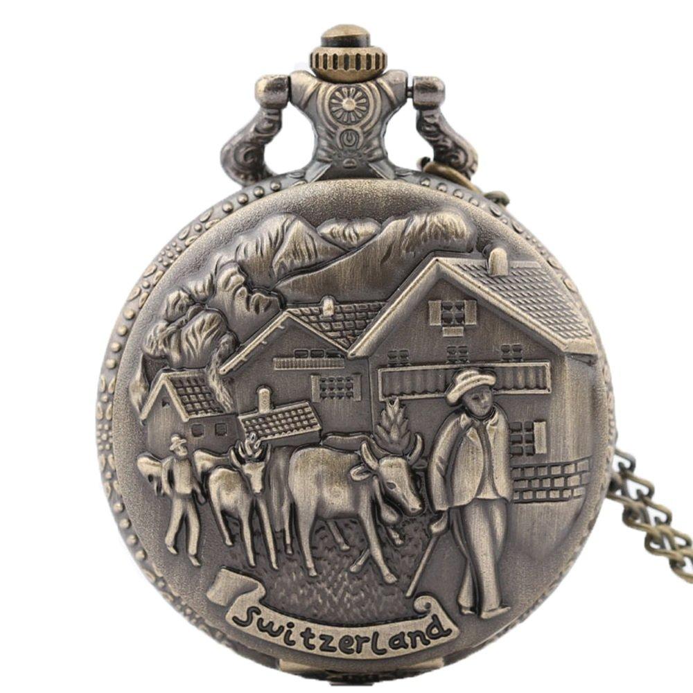 Shirleyle Vintage Bronze Quartz Pocket Watch With Chain Christmas Wedding Gift For Women Men