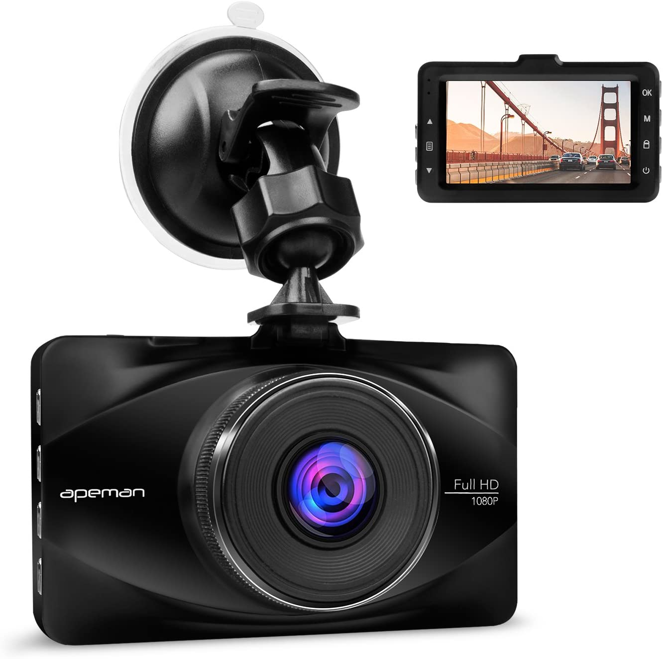 Parking Monitoring Motion Detection G-Sensor APEMAN Dash Cam Car Visor Front and Rear 1080P Full HD Dual Car Camera WDR Lens 170/° Wide Angle Lens Work with GPS Night Vision