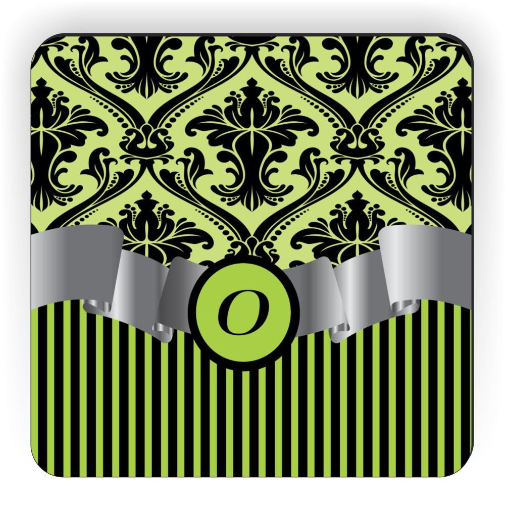 Rikki Knight Letter O Initial Lime Green Damask and Stripes Monogrammed Design Square Fridge Magnet