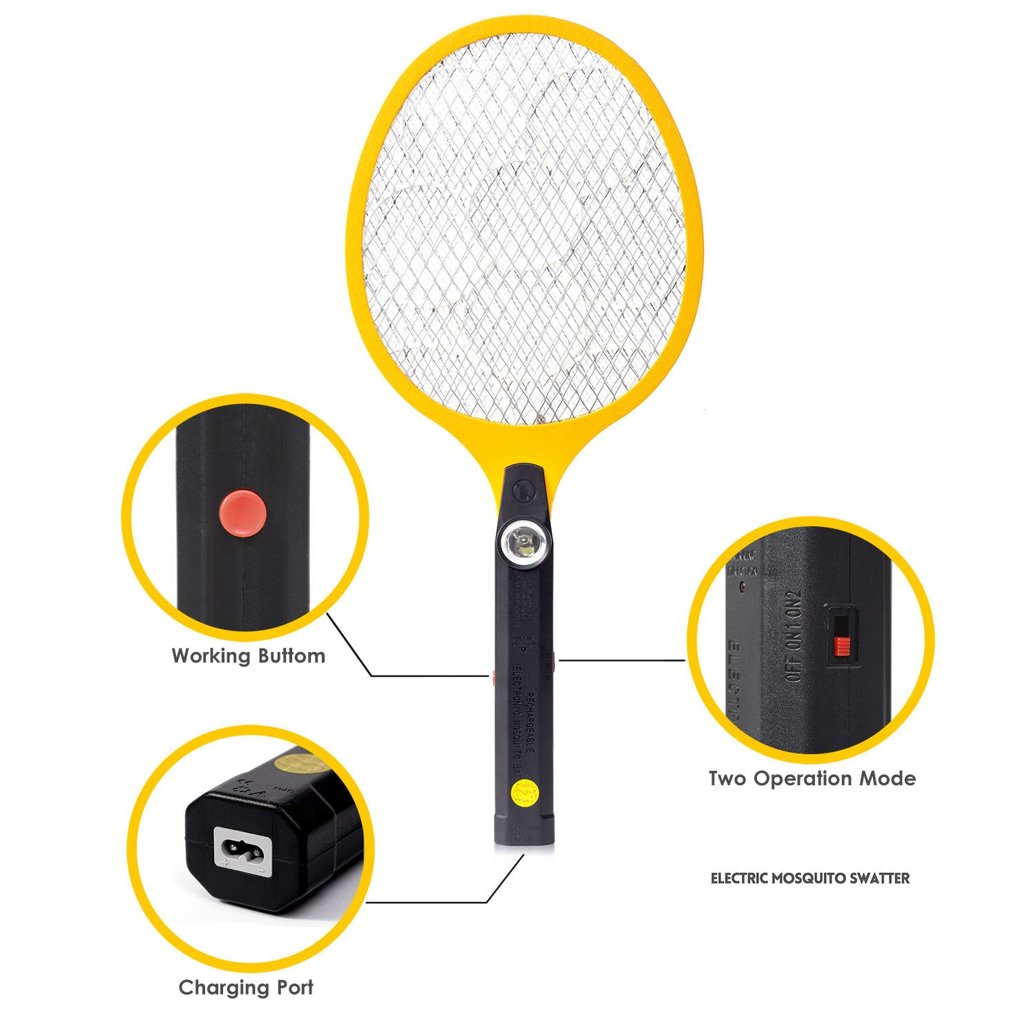 Electric Fly Swatters, Cobiz Bug Zapper Racket, Rechargeable Mosquito Fly