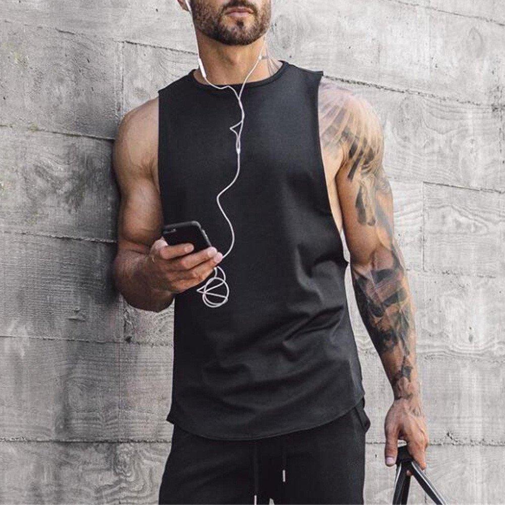 MODOQO Men's Tank Tops Fitness Sleeveless Cotton O-Neck T-Shirt Gym Vest(Black,L) by MODOQO (Image #5)