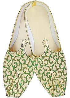 Mens Ivory and Green Wedding Mojari MJ015658