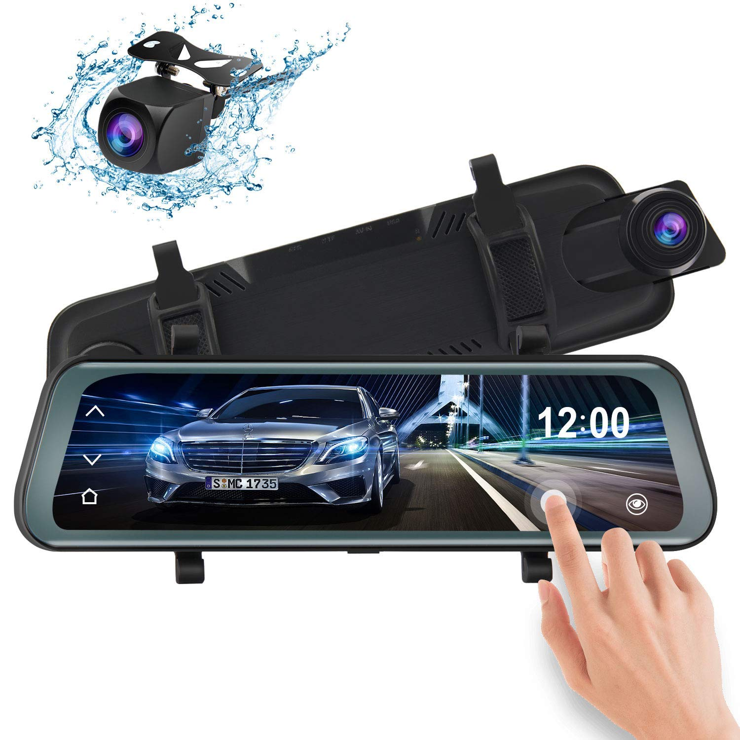 Mirror Dash Cam 9.66'' Esky Backup Camera 1080P Full Touch Screen Front and Rear Dual Lens HD Car Camera with Parking Assistance G-Sensor,170° Viewing Angle Waterproof Rear View Reverse Parking Camera
