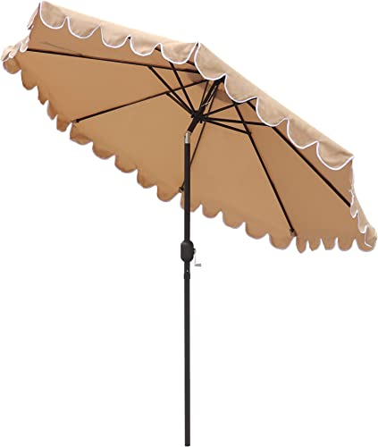 ABBLE 9 Ft Round Scallop Outdoor Patio Umbrella with Tilt and Crank, Weather Resistant, UV Protective Umbrella, Durable, 8 Sturdy Steel Ribs, Market Outdoor Table Umbrella – Tan