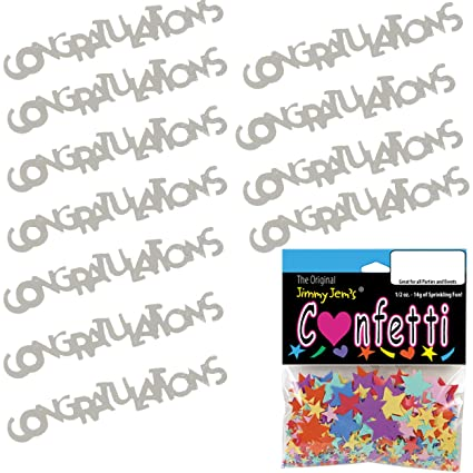 amazon com confetti word congratulations silver 2 half oz pouches