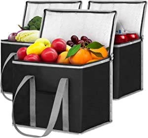 WiseLife Reusable Shopping Bags Grocery Bags [ 3 Pack ] with Handles, Insulated Bags Food Delivery Bags Cooler Bags with Zippered Top for Groceries, Food Transport, Travel, Picnic, Camping (GY)