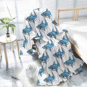 jecycleus Sea Animals Decor Comfortable Large Blanket Fierce Predator Wild Shark Swimming Teeth Bite Nautical Theme Pattern Microfiber Blanket Bed Sofa or Travel W70 x L90 Inch