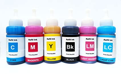 White Sky Compatible Ink for Epson 6 Color Printer for L800 / L805 / L810 /  L850 / L1800 - T673 Models (75ml x 6 Ink Bottles)