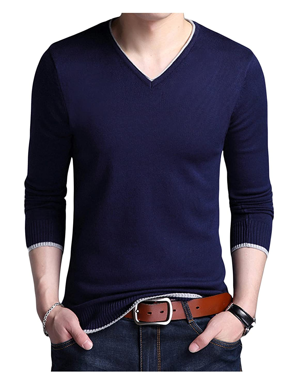 Legou Mens Slim Knitted Long-Sleeve V-Neck Sweaters