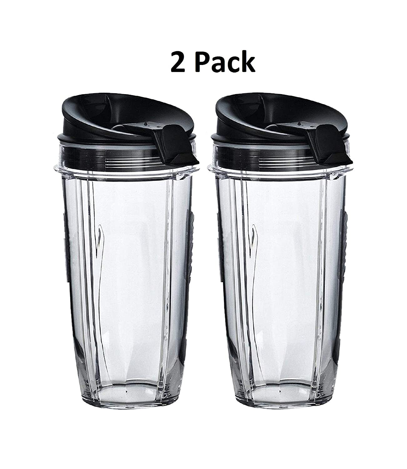 Ninja Pro Replacement Nutri Ninja 24 oz Cup with Sip & Seal Lid - For Blender BL450 BL454 Auto-iQ BL480 BL481 BL482 BL687 (2-Pack)