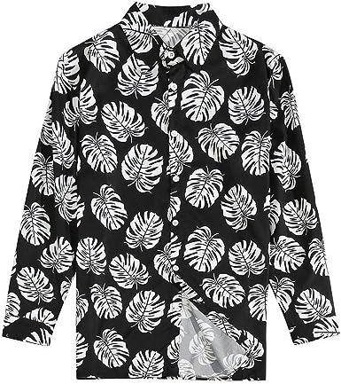CAOQAO Camisa Hombre Hawaiana Manga Larga Estampado Floral de Moda 2019 35% algodón & 65% poliéster: Amazon.es: Ropa y accesorios