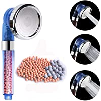 VEHHE Shower Head Powerful Flow with Beads Filter Pressure Boosting Shower Head Spray with 3 Modes Water Saving Bathing for Adults Children Pets Home and Gym Use