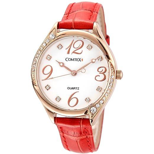 Reloj mujer oro rosa de cuarzo números grandes,correa de piel color rojo: Amazon.es: Relojes