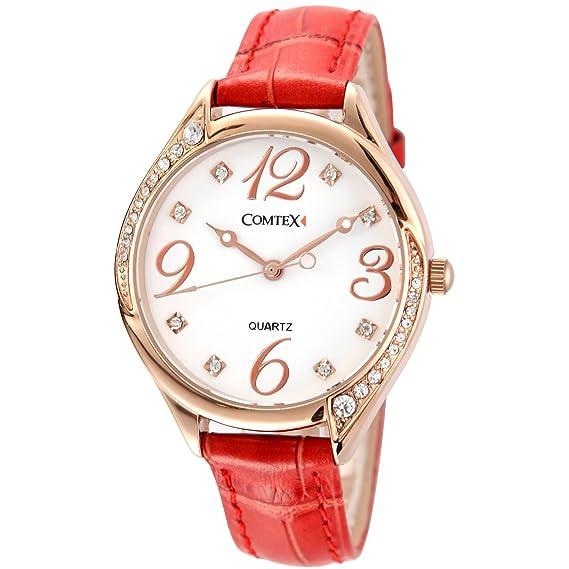 Reloj mujer oro rosa de cuarzo números grandes,correa de piel color rojo