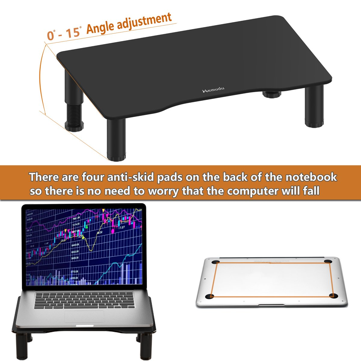 Glass Computer Monitor Stand Riser with Height Adjustable Multi Media Desktop Stand for Flat Screen LCD LED TV, Laptop/Notebook/Xbox One, Black HD01B-002 by Hemudu (Image #5)