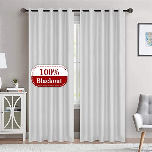 LoyoLady White 100 Blackout Curtains 96 inches Long, Farmhouse Thermal Insulated Curtains for Living Room Decor, Set of 2 Panels 84 W x 96 L Grommet Light Blocking Curtains for Bedroom