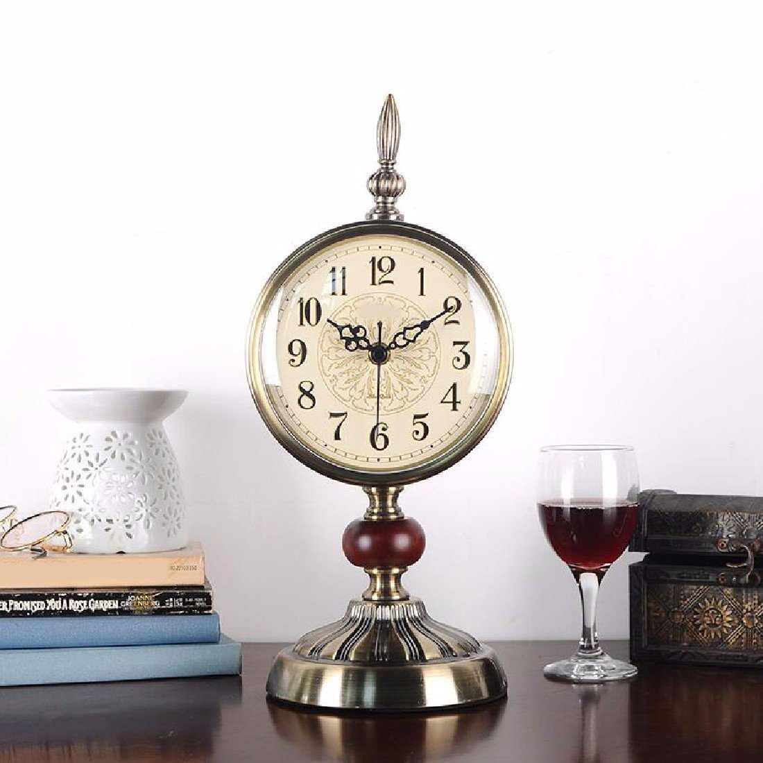 WAWZJ ウォールクロック美しい時計の席時計の復古の客間のヨーロッパ式の静音の寝室は鐘の金属のデスクトップの置物を並べます B07CVJXWKV