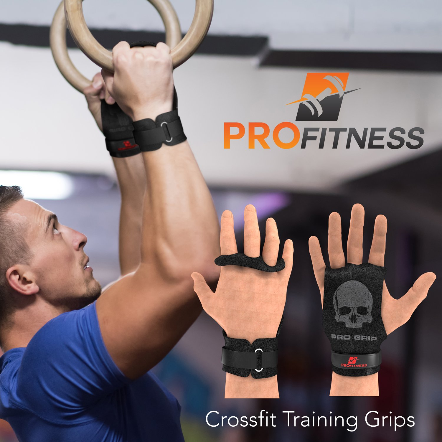 ProFitness Leather Cross Training Grips High Grip Palm Protection from Rips /& Tears with Wrist Support for Pull Ups Kettlebells Non Slip
