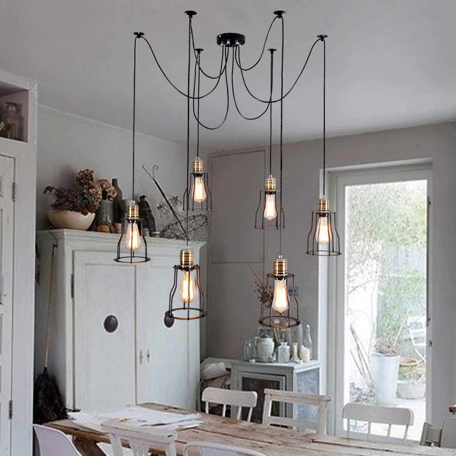 Unitary Brand Vintage Large Barn Chandelier Max 360w with 6 Lights