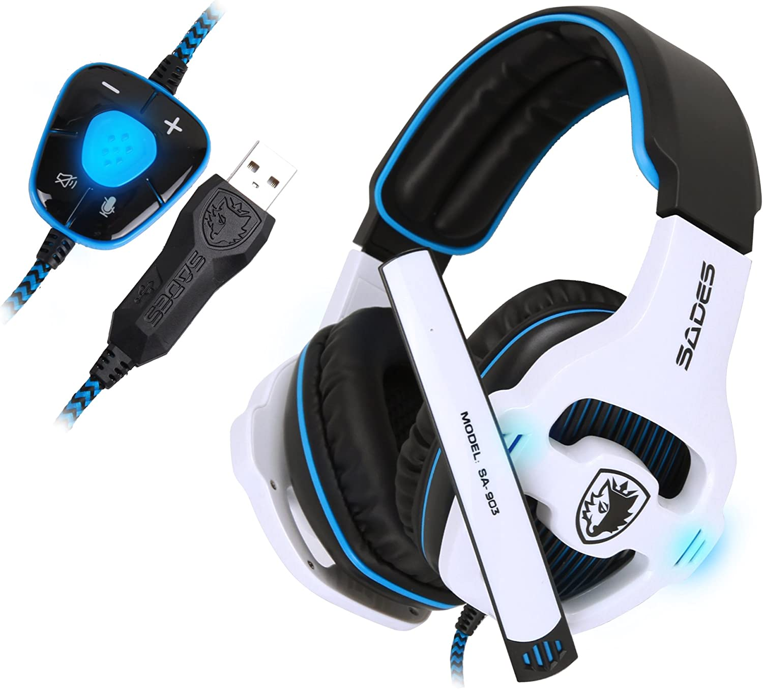 SADES Stereo 7.1 Surround Pro USB Gaming Headset with Mic Headband Headphone White