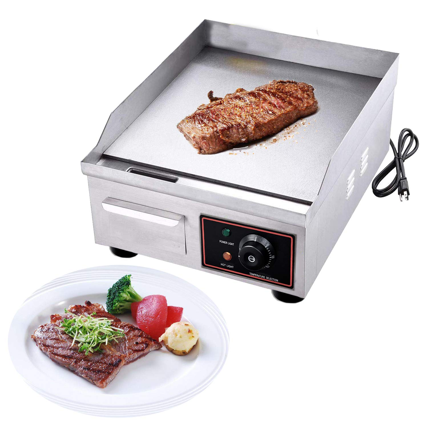 Proshopping 1500W 14'' Commercial Electric Countertop Griddle Grill, Stainless Steel Restaurant Grill, Tabletop Flat Grill, with Adjustable Temperture Control, 110V