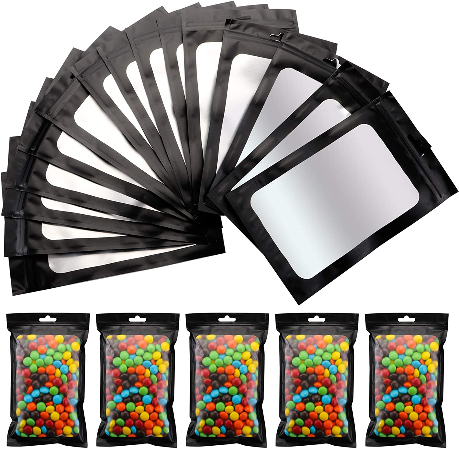 Yesland 200 Pcs Resealable Mylar Ziplock Food Storage Bags with Clear Window, Black 4.75 × 7.8 Inches Food Self Sealing Storage & Pouch Bag with Ziplock for Coffee Beans Candy Nuts Soap Sample