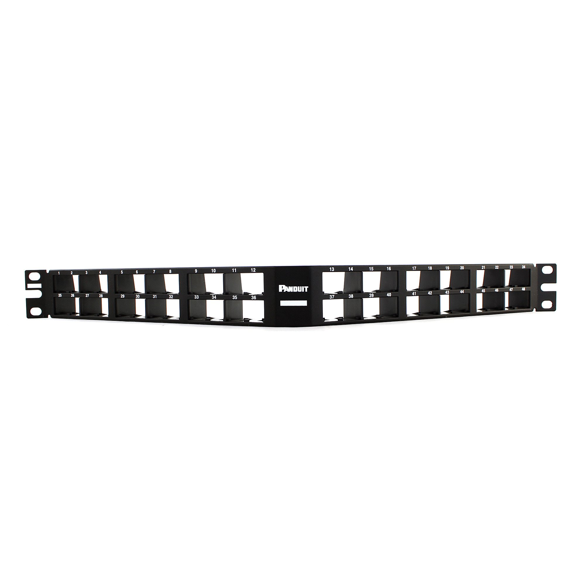 Panduit CPPA48HDWBLY Angled High-Density 48-Port Patch Panel, Black