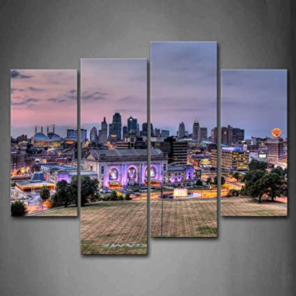 Buildings Of Kansas City With Wide Square Wall Art Painting Pictures Print On Canvas City The & Amazon.com: Buildings Of Kansas City With Wide Square Wall Art ...