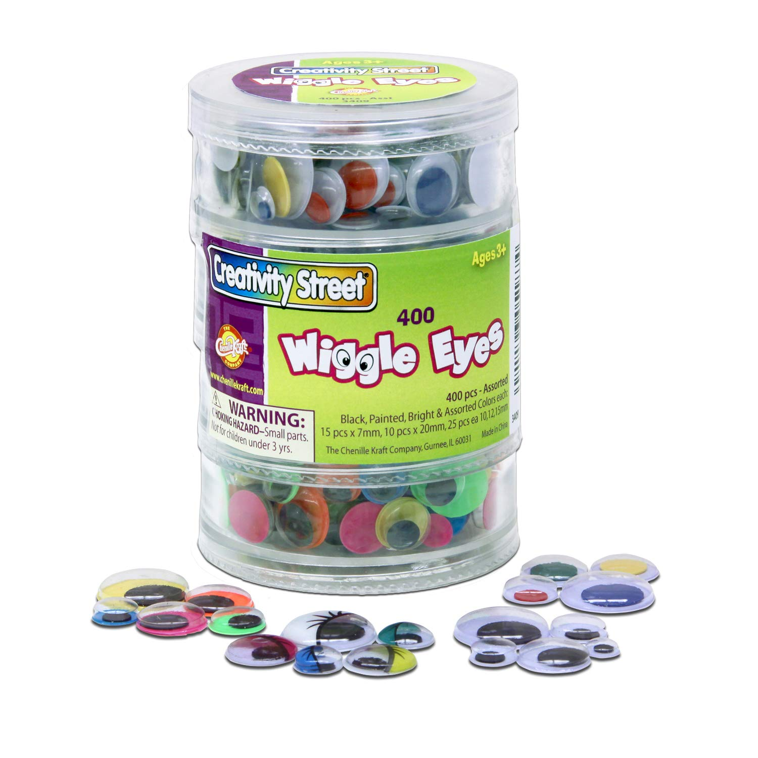 Chenille Kraft Wiggle Eyes 4 Tier Stacker 400-Piece Assorted Black Painted and Bright