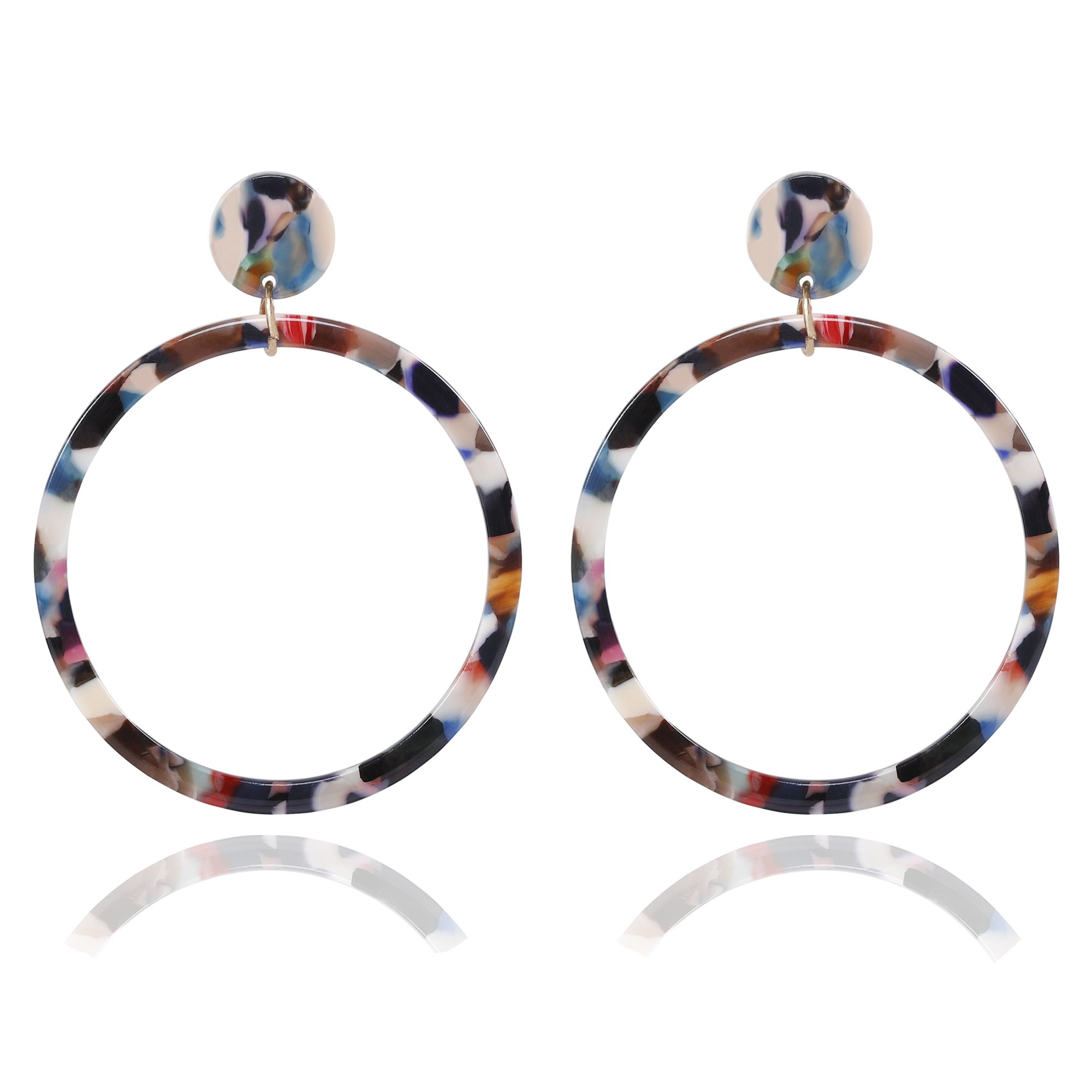 Acrylic Hoop Earrings Large Mottled Marble Circle Drop Dangle Earrings Tortoiseshell Round Stud Earrings for Women (Floral)