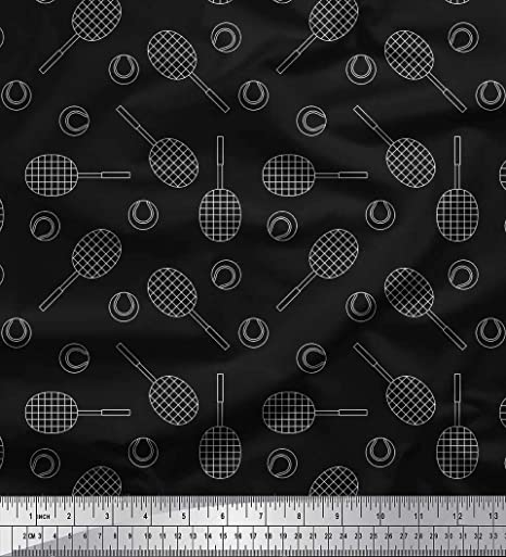 Soimoi Negro batista de algodon Tela pelota de tenis y raqueta Deportes estampados de tela por metro 42 Pulgadas de ancho: Amazon.es: Hogar