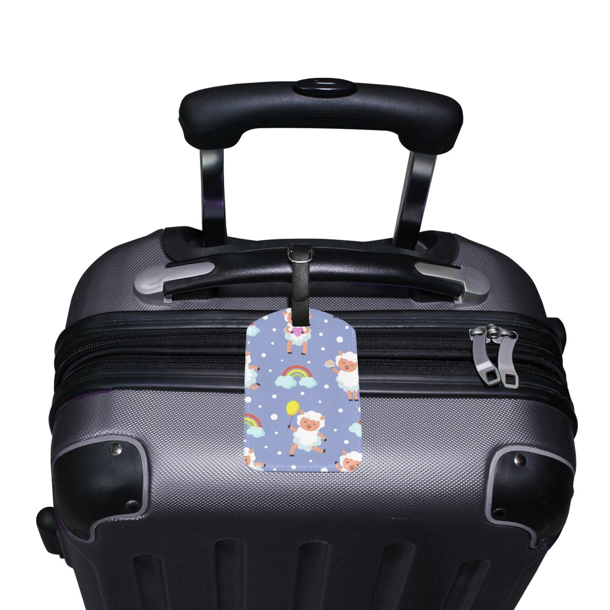 Saobao Travel Luggage Tag White Lamb Small Sheep PU Leather Baggage Travel ID